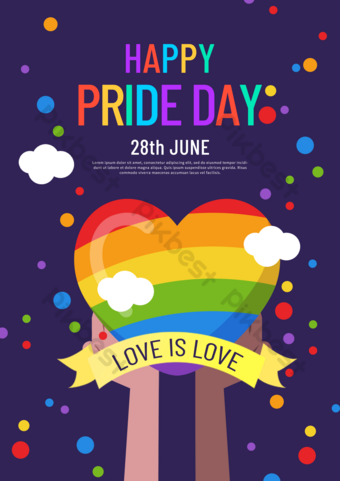 ملون لون قوس قزح مثلي الجنس ملصق قالب PSD