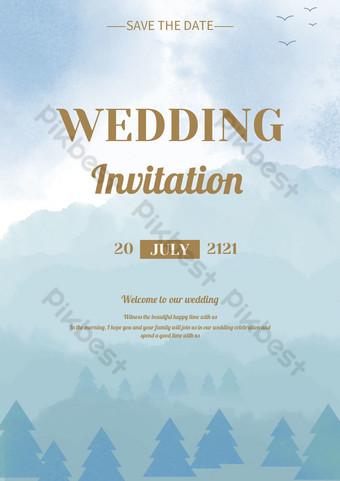 دعوة الزفاف الأزرق مع قالب الخلفية المشهد المائية قالب PSD