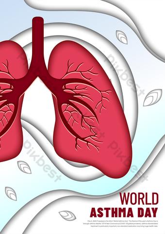 Flyer d'asthme de style coupé en papier Modèle EPS
