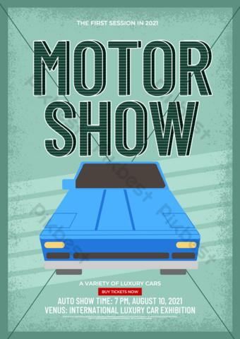 Modèle de dépliant d'exposition de voiture de style Vintage Modèle PSD