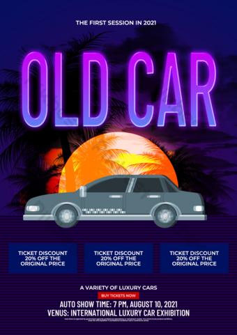 Modèle de dépliant d'exposition de voiture de style néon sombre Modèle PSD