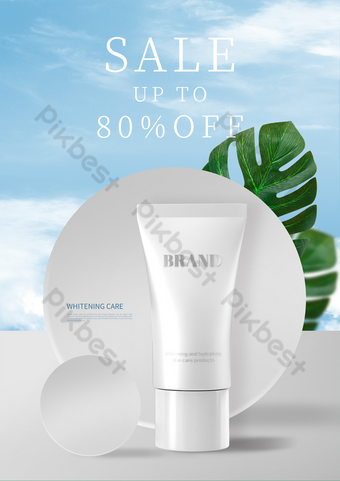 Affiche de promotion de produits de blanchiment ronde blanche blanche Modèle PSD