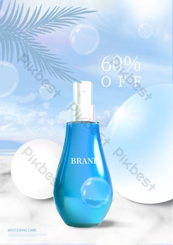 Affiche de promotion de produits de blanchiment géométrique bleu ciel bleu stéréo Modèle PSD