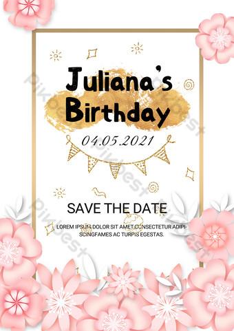 Modèle de carte d'invitation d'anniversaire d'anniversaire de feuille d'or floral Modèle PSD