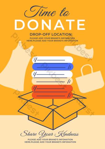 Affiche de dépliant de don de vêtements de charité Modèle PSD