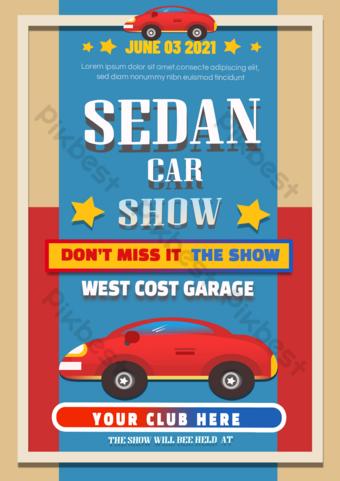 Flyer de dépliant de dépliant de l'exposition de voiture rouge rétro Modèle PSD
