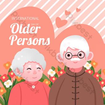 Pink striped International Seniors Day Media Social Template PSD