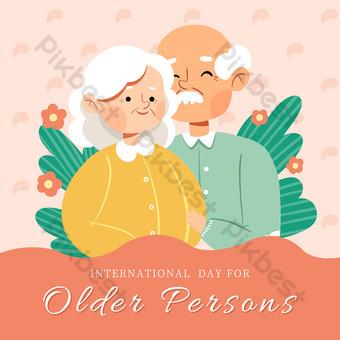 Cartoon Simple International Seniors Day Media Social Template PSD