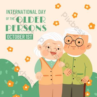 Warm cartoon international elderly day media social template Template PSD