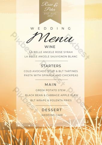 Golden Reed Aquarelle Menu de mariage pittoresque Flyer Modèle PSD