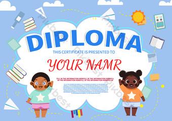 الزرقاء القرطاسية لطيف شهادة الطفل الطفل قالب PSD
