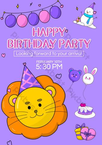 Templat Undangan Kartun Pesta Ulang Tahun Anak-anak Templat PSD