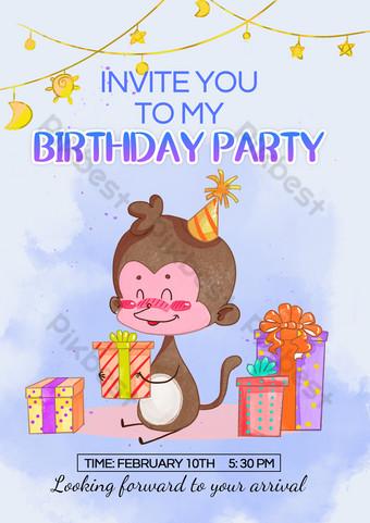 Templat Undangan Pesta Ulang Tahun Anak Hewan Templat PSD