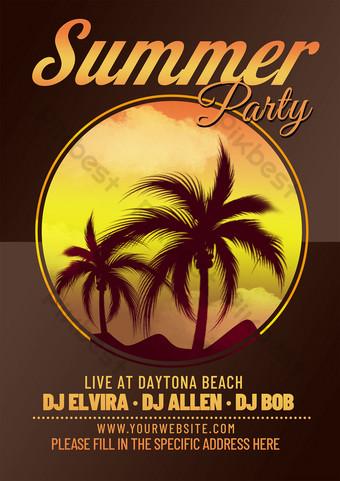 Flyer de fête de plage Modèle PSD