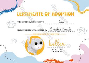 لطيف هريرة الحيوانات الأليفة شهادة الطفل الإبداعي قالب EPS