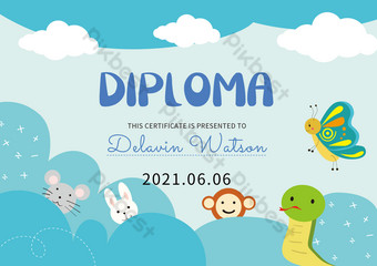 الكرتون الأزرق الحيوان لطيف شهادة الطفل قالب EPS