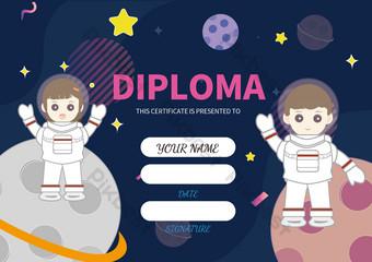 شهادة الأطفال الكونية الإبداعية شهادة الطفل الحد الأدنى قالب EPS