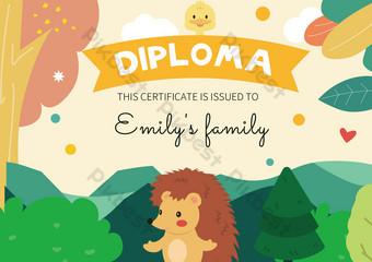 لطيف القنفذ غابة الكرتون شهادة الطفل قالب EPS