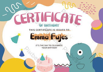 لطيف ليتل الوحش الكرتون شهادة الطفل قالب EPS