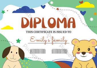 الأطفال الخضراء الطفل لطيف الدب شهادة الكرتون قالب EPS