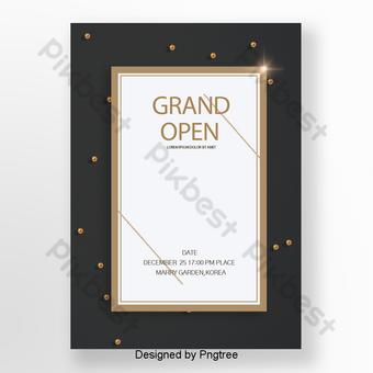 Invitation exquise et simple noire pour l'ouverture d'entreprise Modèle PSD