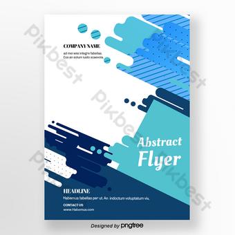 Flyer de bloc de couleur abstrait géométrique bleu vert Modèle PSD