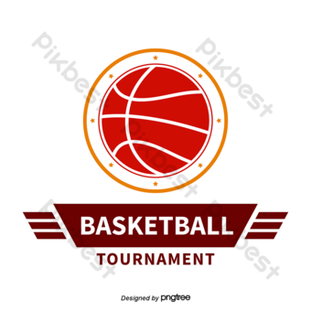 Vector de baloncesto naranja rojo logo del torneo de baloncesto Elementos graficos Modelo AI