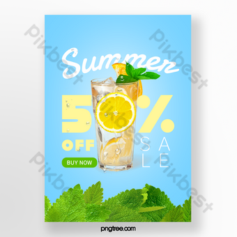 الصيف النعناع الليمون المشروبات الخاصة تعزيز قالب التباين اللون قالب PSD