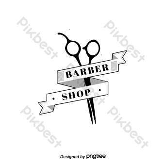 Elemento de combinación de cinta de tijeras logotipo de peluquería retro Elementos graficos Modelo PSD