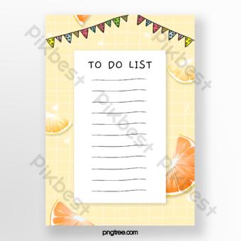 ومن ناحية رسم الفاكهة الصفراء البرتقالية الخلفية مذكرة قالب PSD