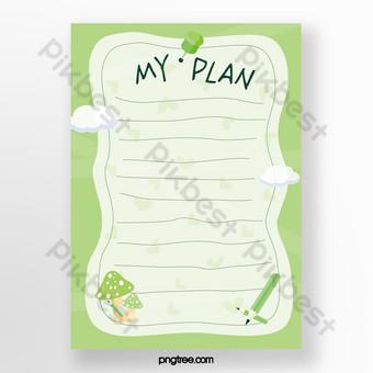 مذكرة خضراء مذكرة سحابة بيضاء قلم رصاص الفطر قالب AI