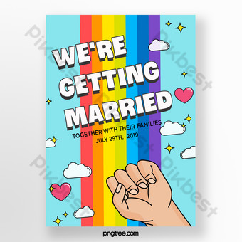 مثلي الجنس الزفاف قوس قزح الحب المصافحة ملصق قالب PSD