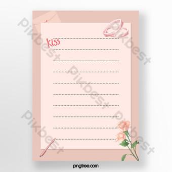 وردي بسيط مذكرة مذكرة القالب قالب PSD
