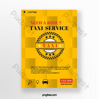شبكة تأجير السيارات الصفراء ، نشرة إعلانية قالب PSD