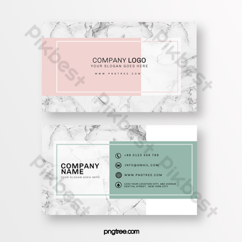 Simple green pink marble background business card Template PSD