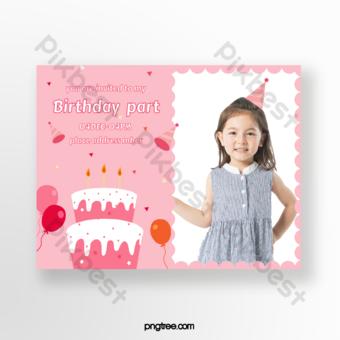 بطاقة دعوة حفلة عيد ميلاد الأطفال قالب AI