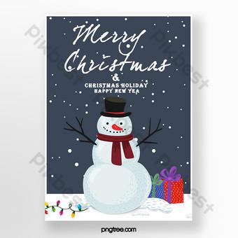 عيد الميلاد بطاقة مرسومة باليد عطلة قالب PSD