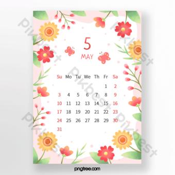 Superbes fleurs bouquets bourgeons papillon feuilles rouge vert orange calendrier de mai Modèle PSD