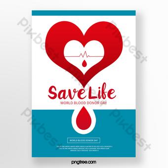 poster hari donor darah dunia biru merah Templat PSD
