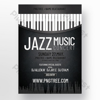 Retro textura helada textura teclas de piano en blanco y negro cartel tridimensional de concierto de jazz Modelo PSD