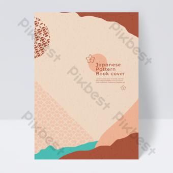 اليابانية مجردة نسيج هندسي غلاف الكتاب قالب PSD