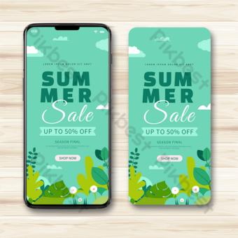 ناقلات المناظر الطبيعية الخضراء الصيف تعزيز الهاتف المحمول قالب AI