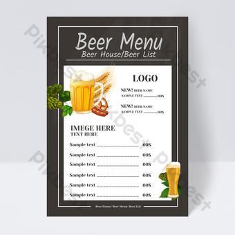 Conception de flyer de restaurant de bière simple carte des vins Modèle PSD