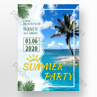 Summer poster summer party sea blue sky palm trees Template PSD