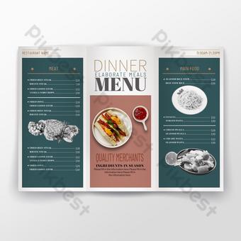 Littérature et art rétro contraste mat bloc de couleur simple menu de dîner de cuisine occidentale dépliant Modèle PSD