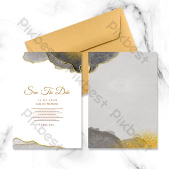 دعوة زفاف بألوان مائية باللونين الأسود والرمادي قالب PSD