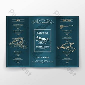 Texture de luxe légère matte lignes de bronzage bleu aqua en couches dépliant de menu de dîner de nourriture occidentale Modèle PSD