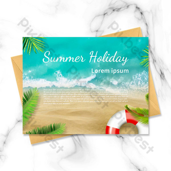 الصيف شاطئ المحيط بطاقة بريدية عطلة الصيف قالب PSD
