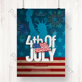 أزياء بسيطة نمط ثلاثي الأبعاد يوم الاستقلال الأمريكي صورة ظلية موضوع الاحتفال ملصق قالب PSD