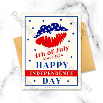 طباعة الشفاه بطاقة عطلة عيد الاستقلال الأمريكي قالب PSD